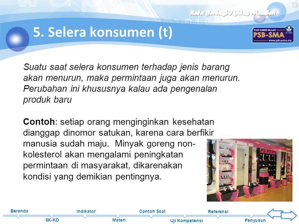 5. Selera konsumen (t)