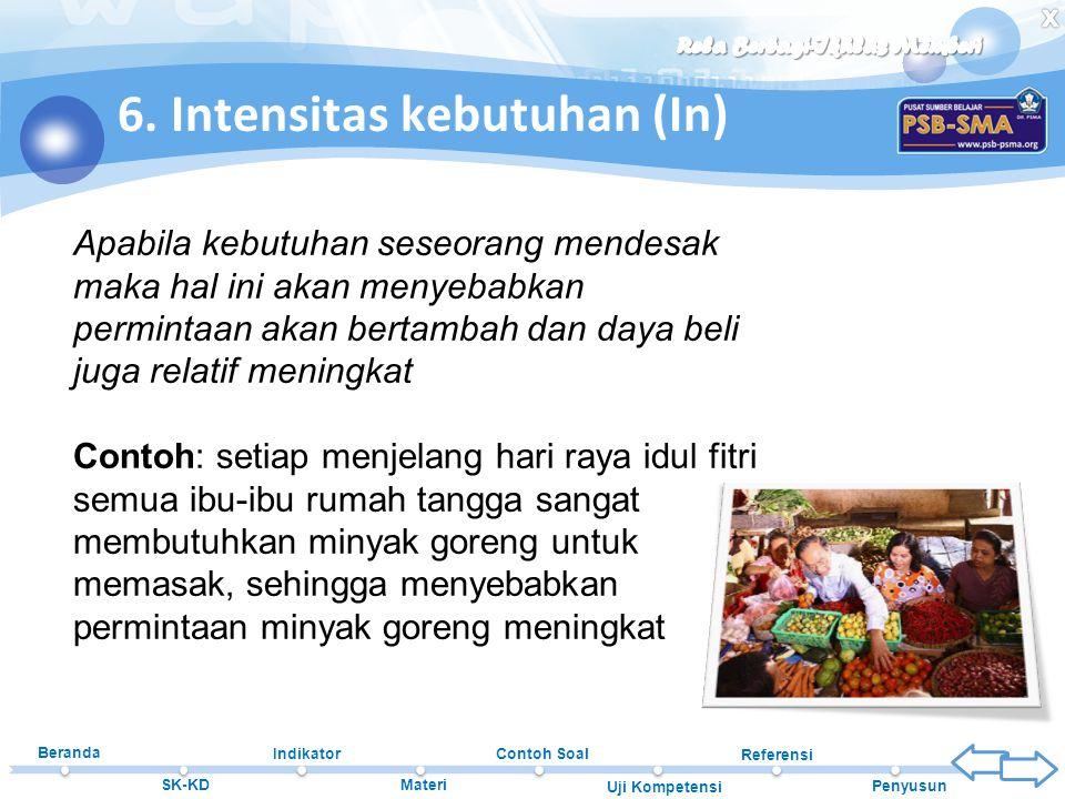 6. Intensitas kebutuhan (In)