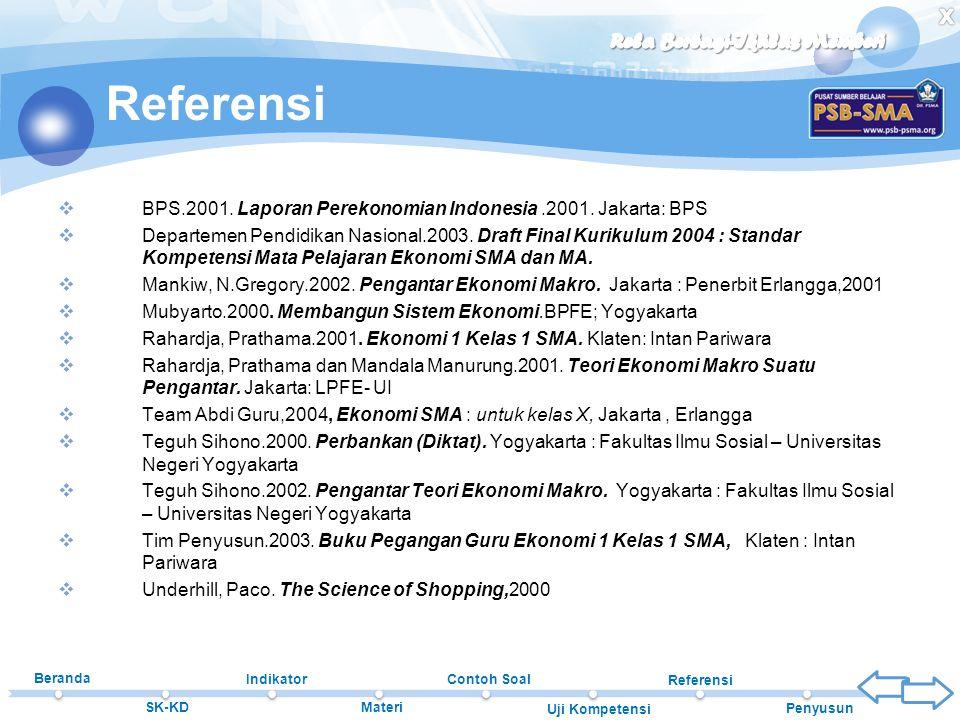 Referensi BPS.2001. Laporan Perekonomian Indonesia .2001. Jakarta: BPS