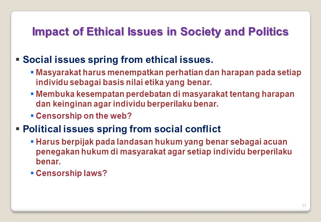 Impact of Ethical Issues in Society and Politics