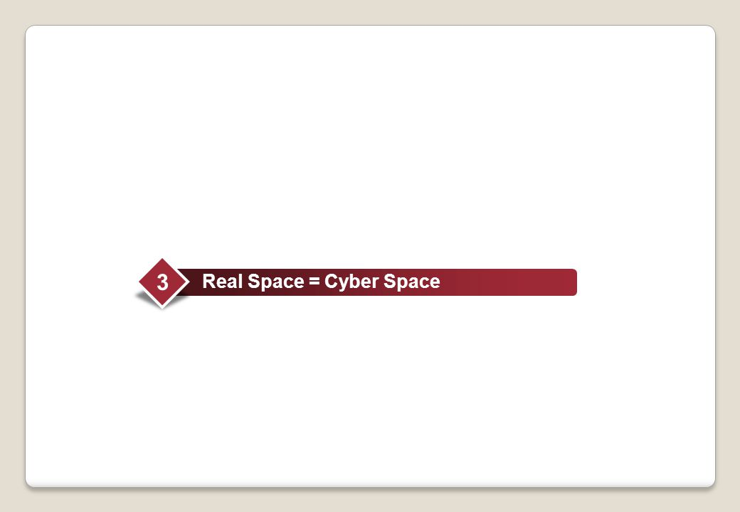 3 Real Space = Cyber Space