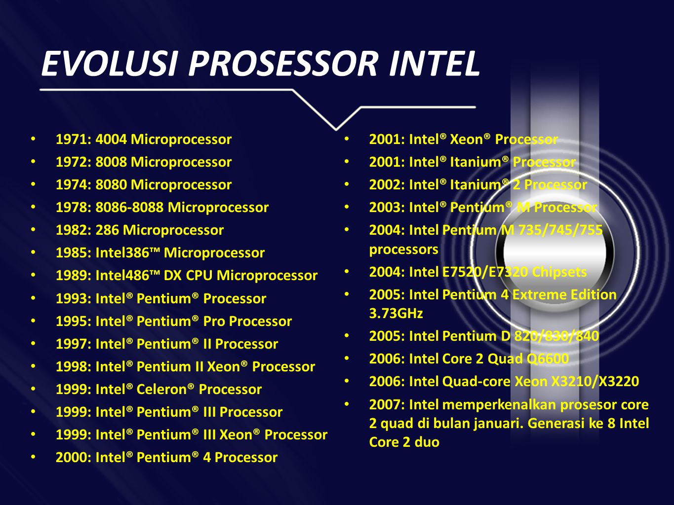 EVOLUSI PROSESSOR INTEL