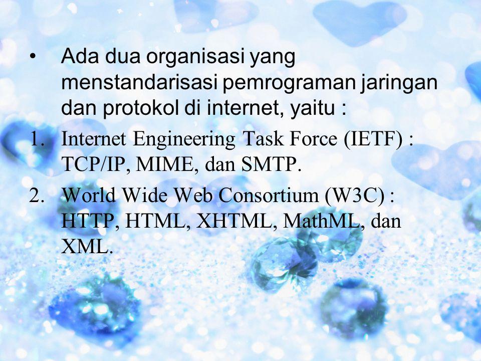 Ada dua organisasi yang menstandarisasi pemrograman jaringan dan protokol di internet, yaitu :