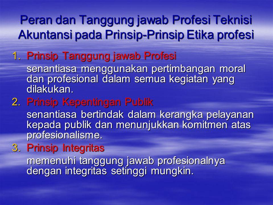 Peran dan Tanggung jawab Profesi Teknisi Akuntansi pada Prinsip-Prinsip Etika profesi