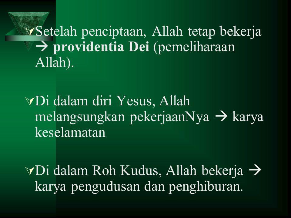 Setelah penciptaan, Allah tetap bekerja  providentia Dei (pemeliharaan Allah).