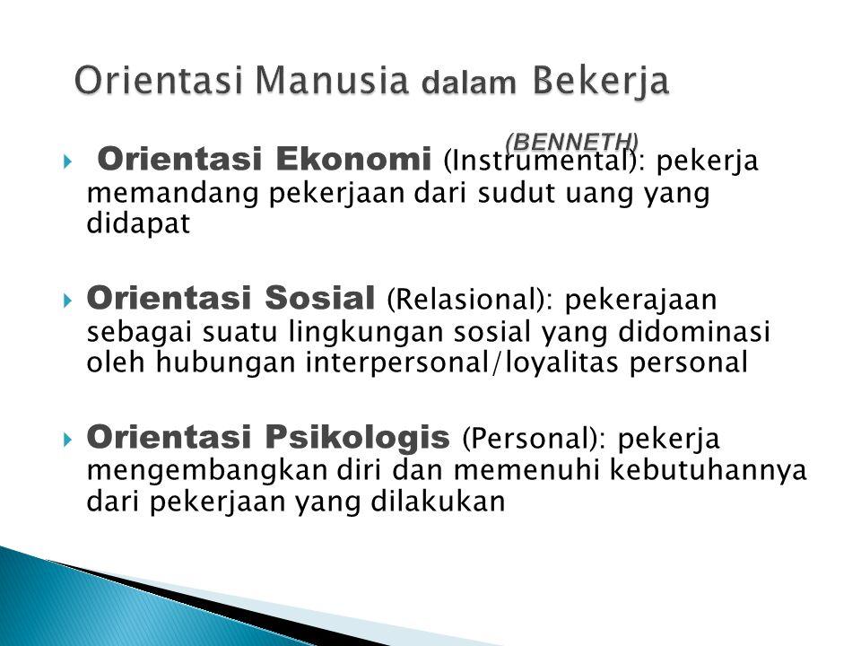 Orientasi Manusia dalam Bekerja (BENNETH)