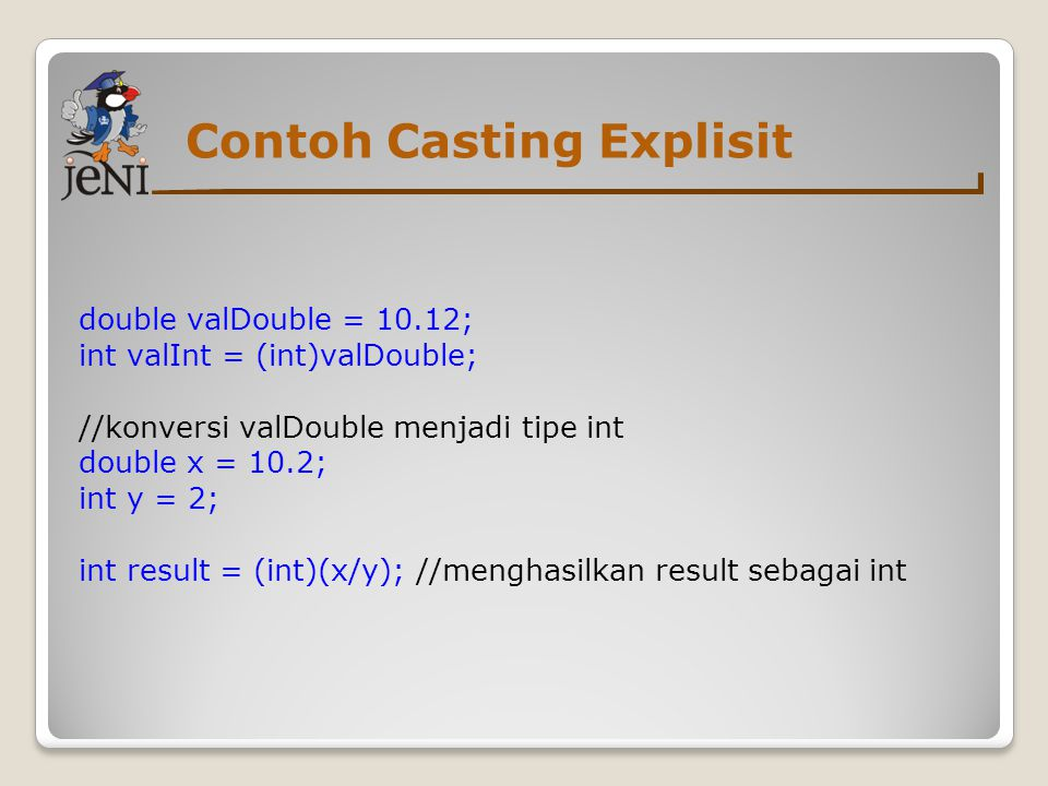 Contoh Casting Explisit