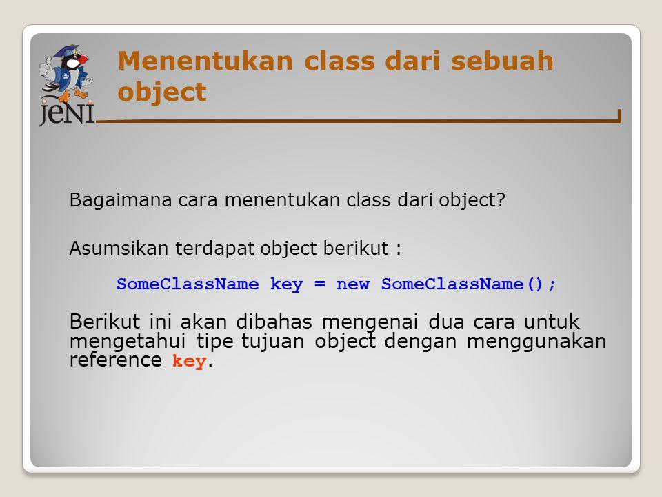 Menentukan class dari sebuah object