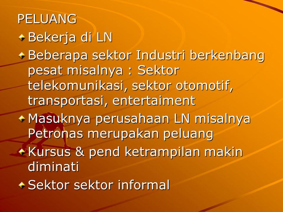 PELUANG Bekerja di LN. Beberapa sektor Industri berkenbang pesat misalnya : Sektor telekomunikasi, sektor otomotif, transportasi, entertaiment.