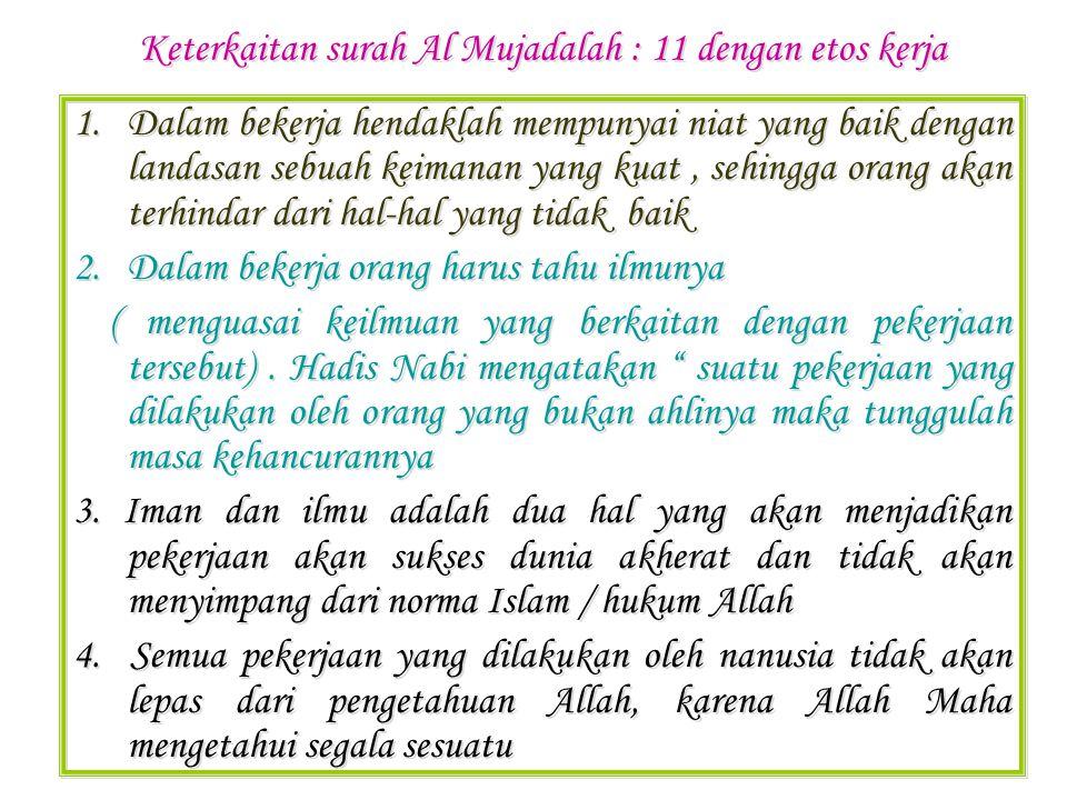 Keterkaitan surah Al Mujadalah : 11 dengan etos kerja