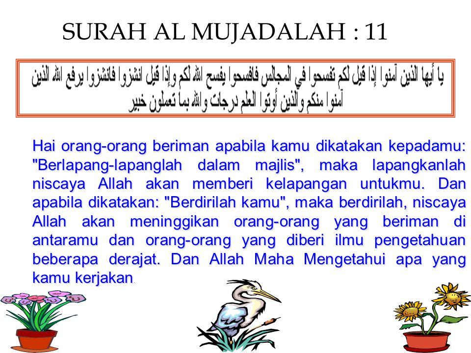 SURAH AL MUJADALAH : 11