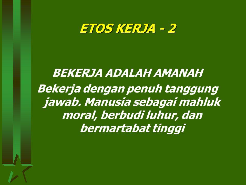 ETOS KERJA - 2 BEKERJA ADALAH AMANAH