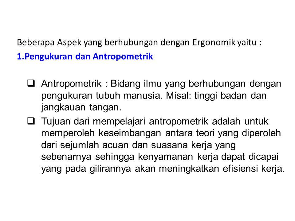 Beberapa Aspek yang berhubungan dengan Ergonomik yaitu :
