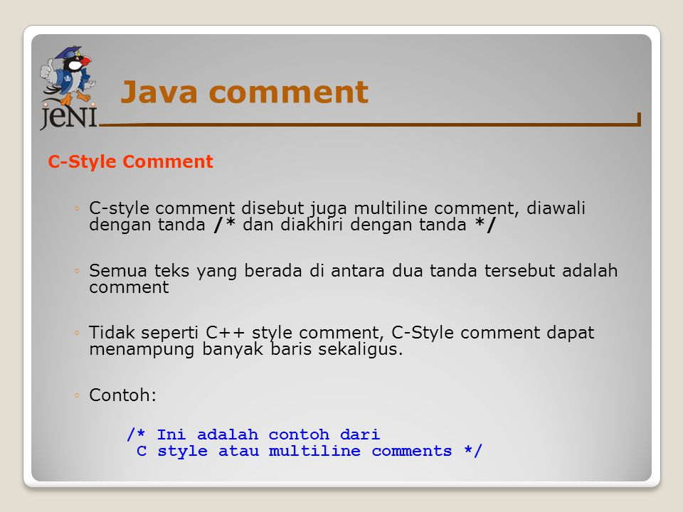 Java comment C-Style Comment