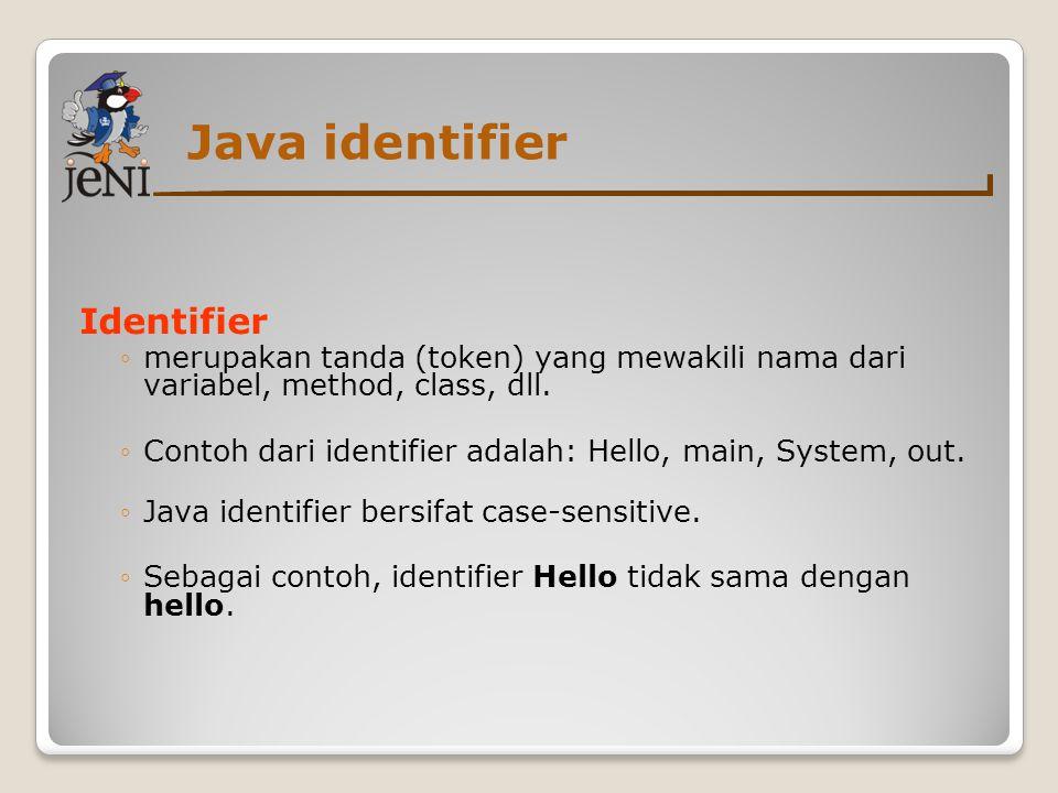 Java identifier Identifier