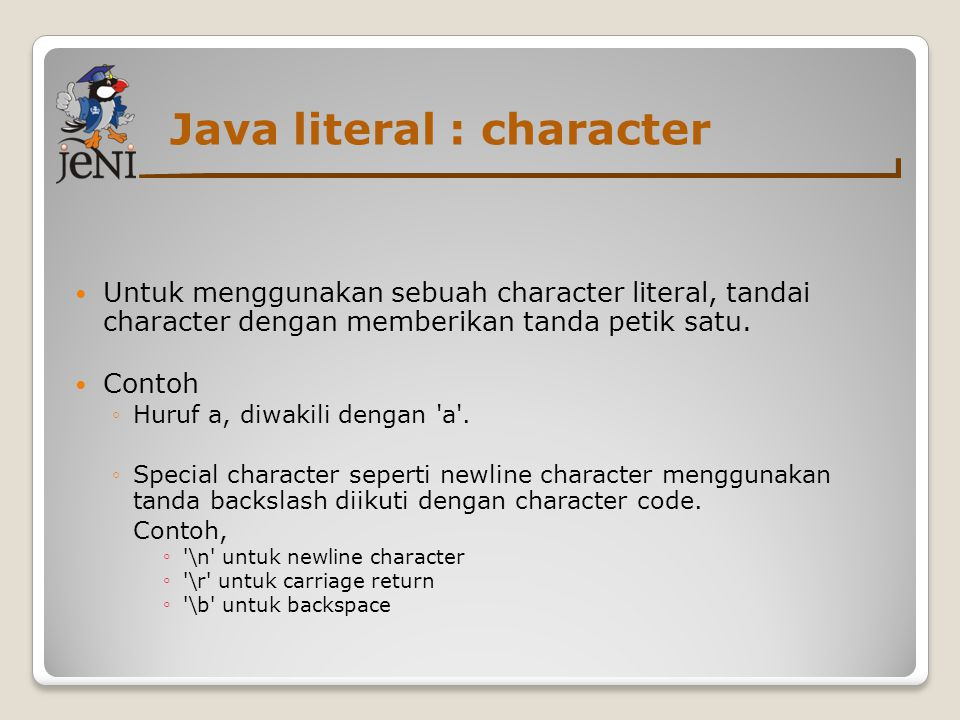 Java literal : character