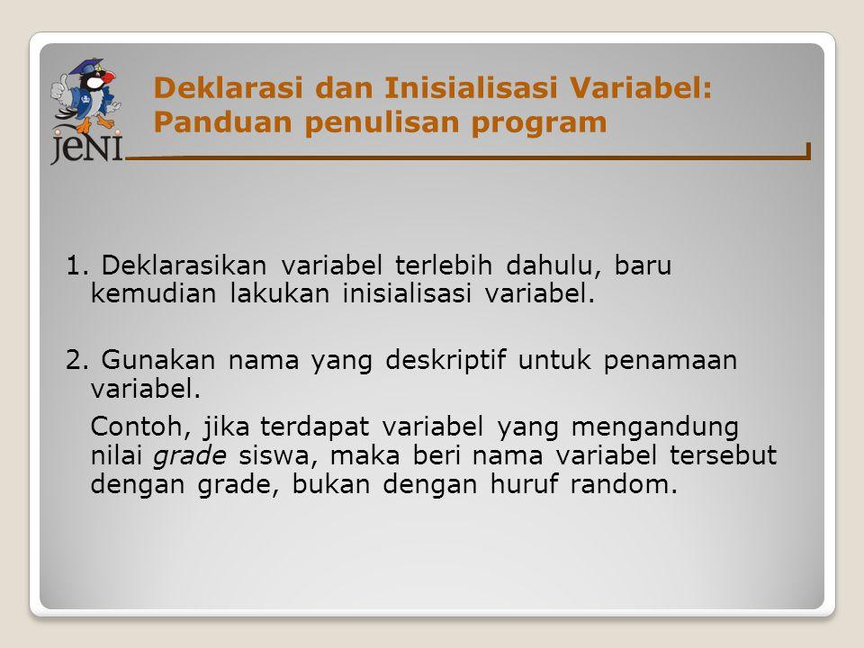 Deklarasi dan Inisialisasi Variabel: Panduan penulisan program