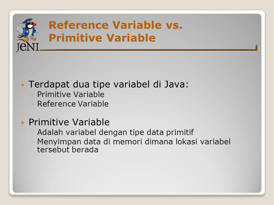 Reference Variable vs. Primitive Variable