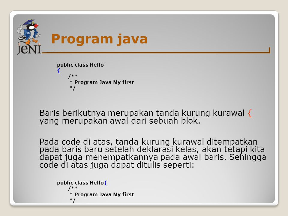 Program java public class Hello. { /** * Program Java My first. */