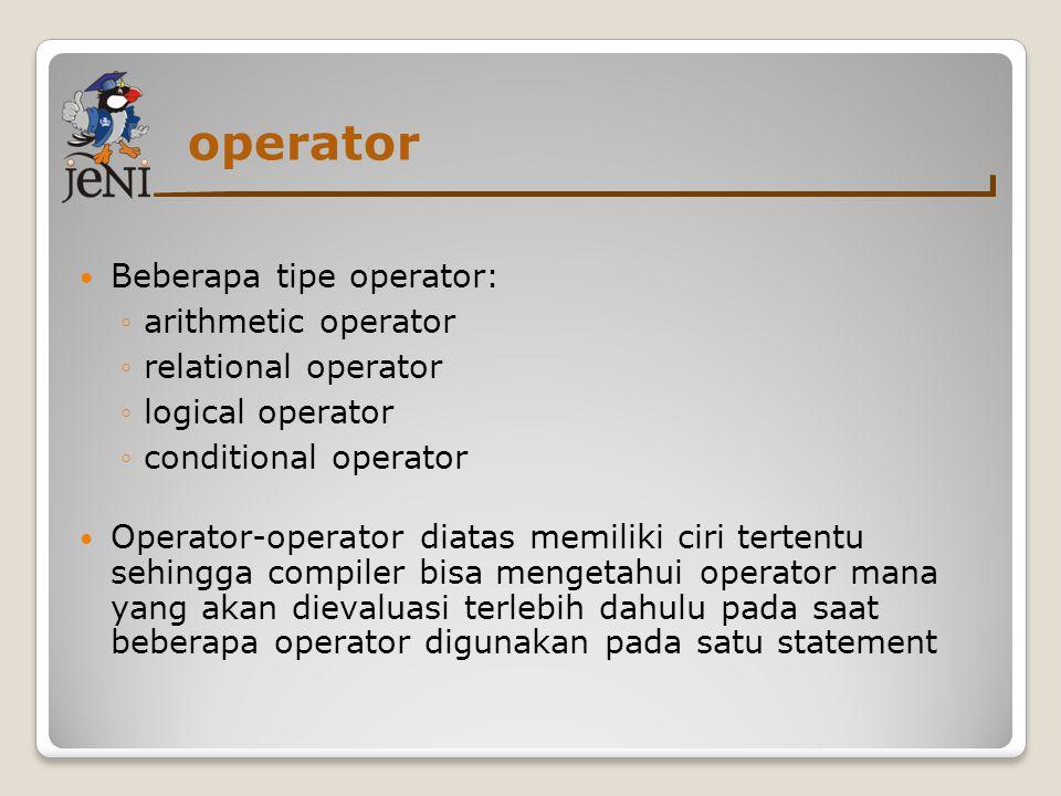 operator Beberapa tipe operator: arithmetic operator