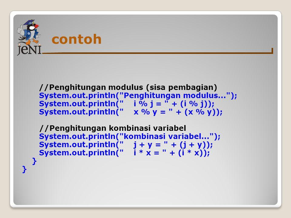 contoh //Penghitungan modulus (sisa pembagian)