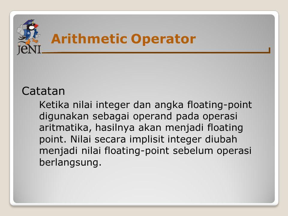Arithmetic Operator Catatan