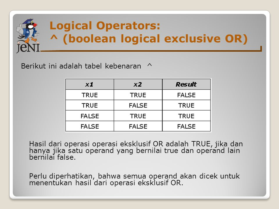 Logical Operators: ^ (boolean logical exclusive OR)
