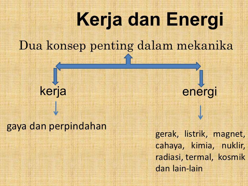 Kerja dan Energi Dua konsep penting dalam mekanika kerja energi