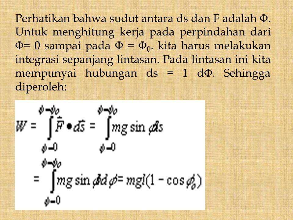 Perhatikan bahwa sudut antara ds dan F adalah Φ