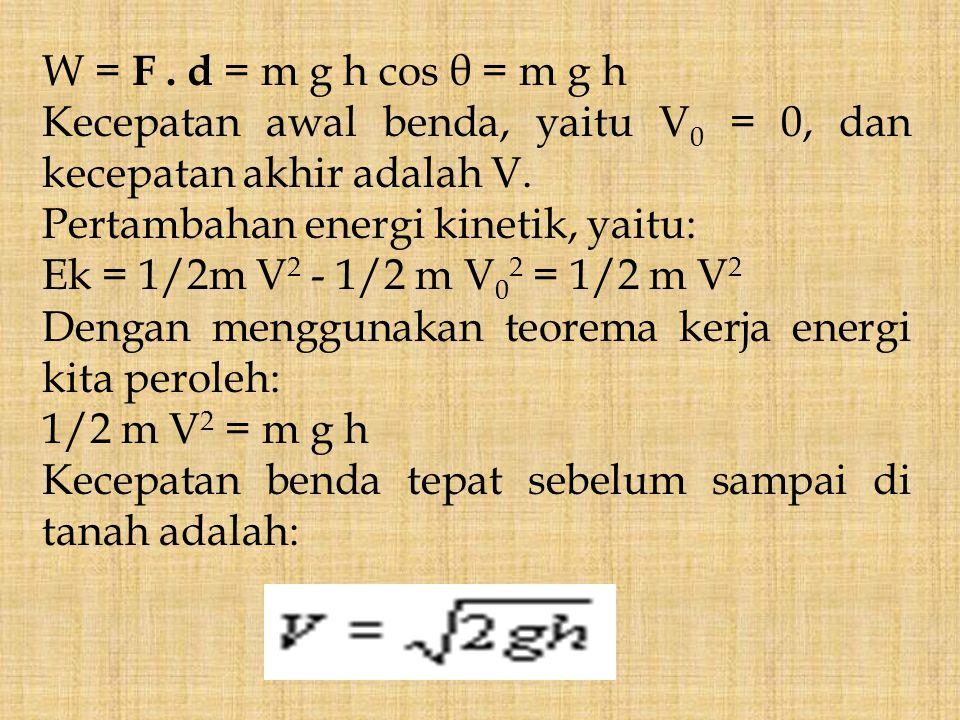 W = F . d = m g h cos θ = m g h Kecepatan awal benda, yaitu V0 = 0, dan kecepatan akhir adalah V. Pertambahan energi kinetik, yaitu: