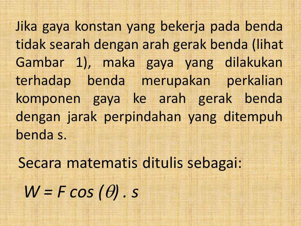 W = F cos () . s Secara matematis ditulis sebagai: