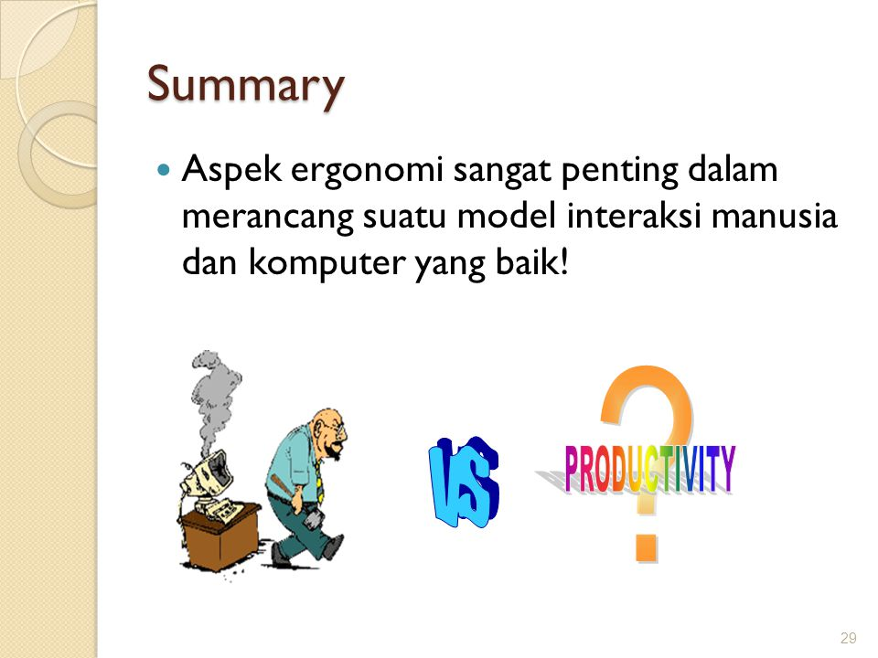 Summary vs PRODUCTIVITY