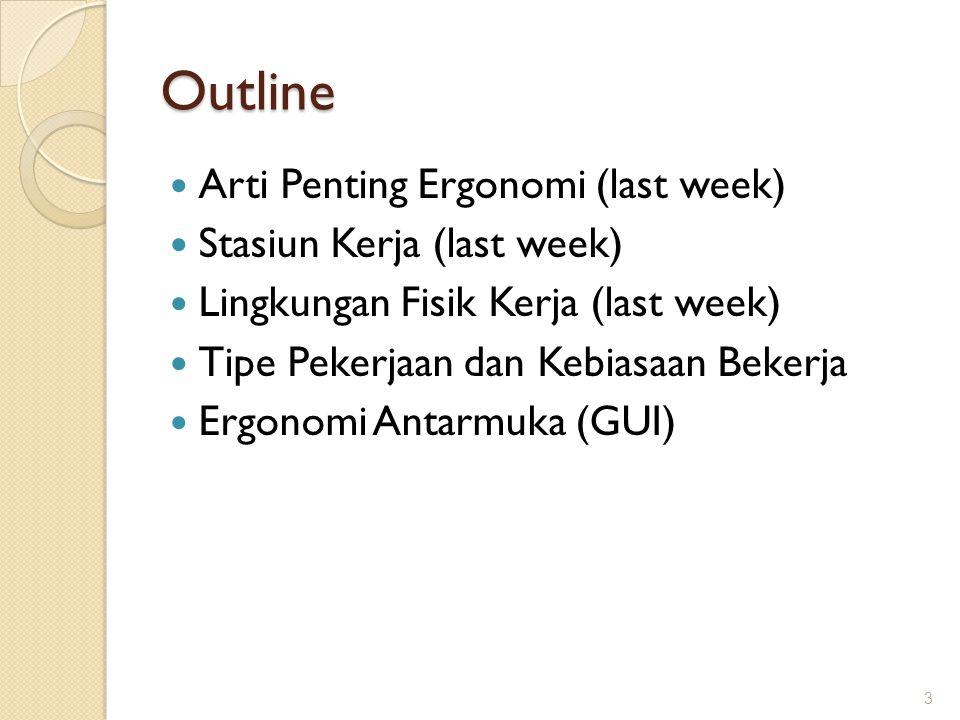 Outline Arti Penting Ergonomi (last week) Stasiun Kerja (last week)