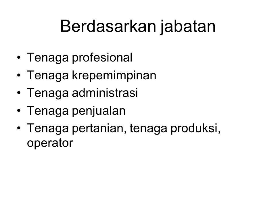 Berdasarkan jabatan Tenaga profesional Tenaga krepemimpinan