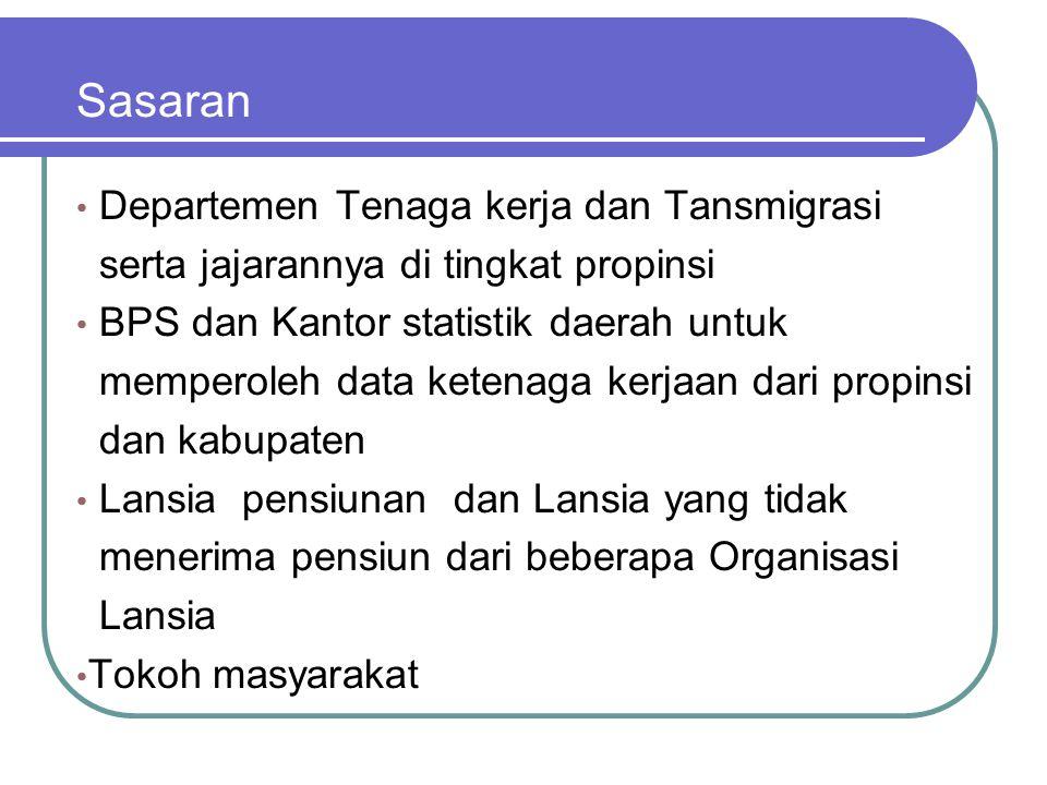 Sasaran Departemen Tenaga kerja dan Tansmigrasi