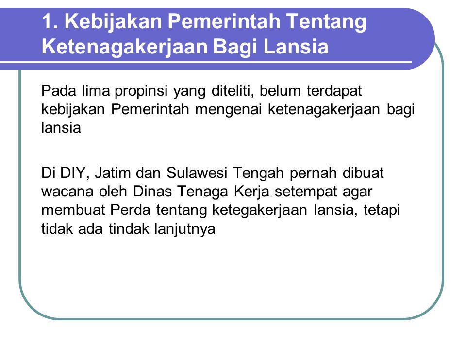 1. Kebijakan Pemerintah Tentang Ketenagakerjaan Bagi Lansia