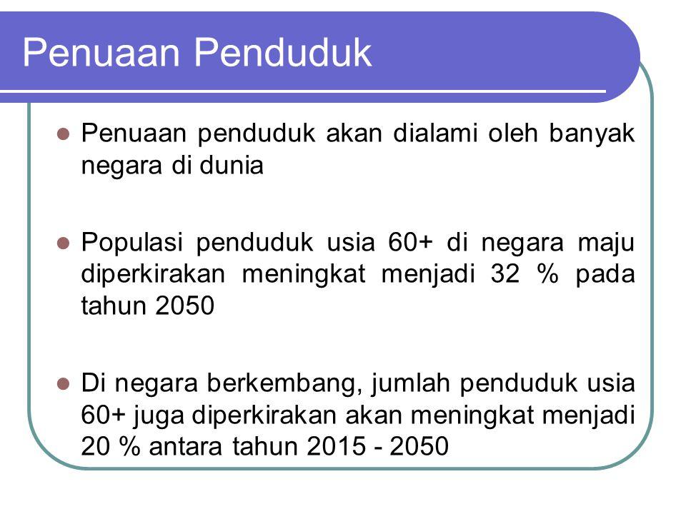 Penuaan Penduduk Penuaan penduduk akan dialami oleh banyak negara di dunia.