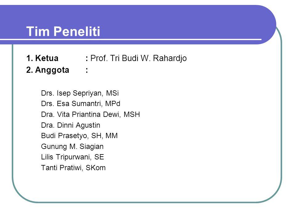 Tim Peneliti 1. Ketua : Prof. Tri Budi W. Rahardjo 2. Anggota :