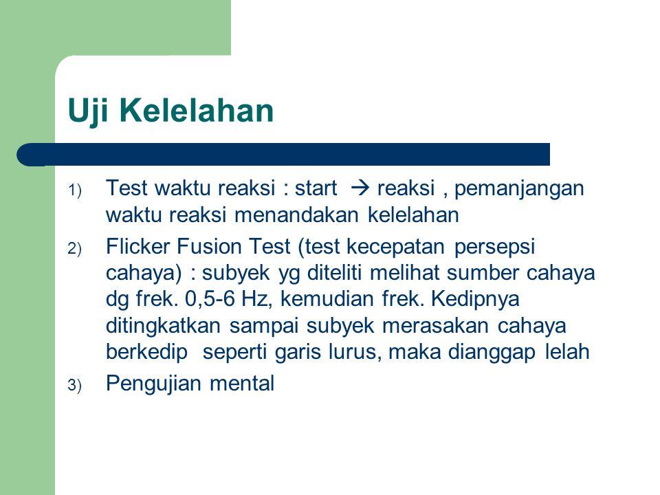 Uji Kelelahan Test waktu reaksi : start  reaksi , pemanjangan waktu reaksi menandakan kelelahan.