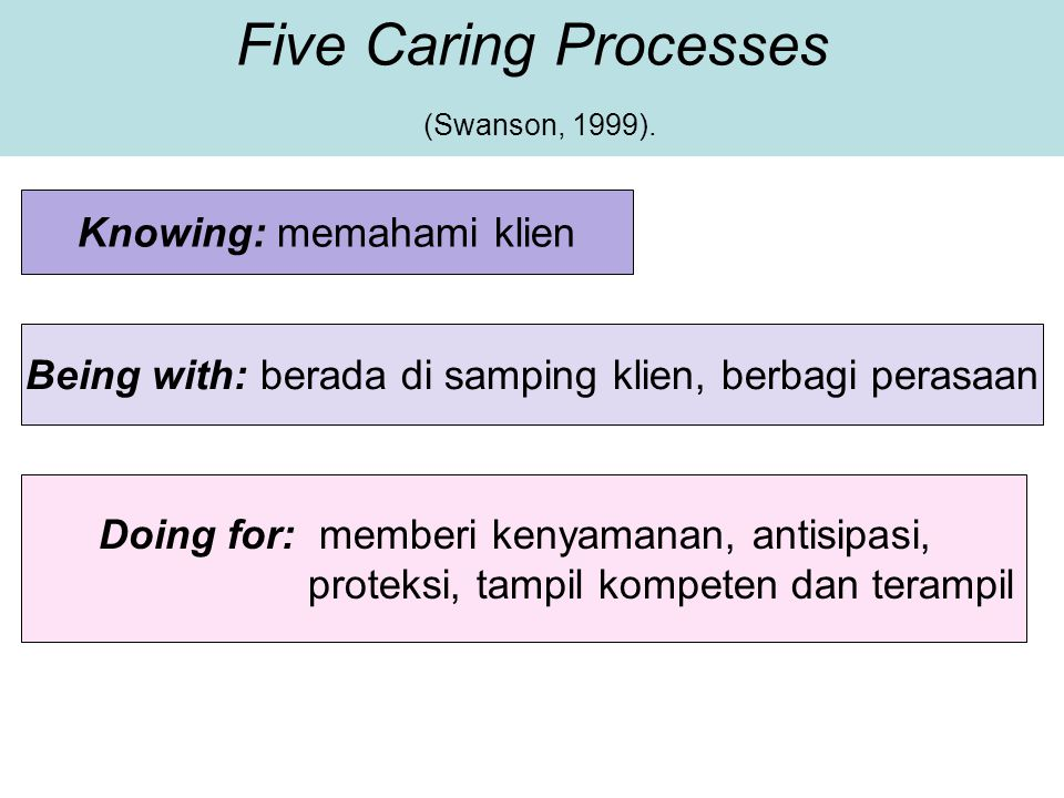 Five Caring Processes (Swanson, 1999).