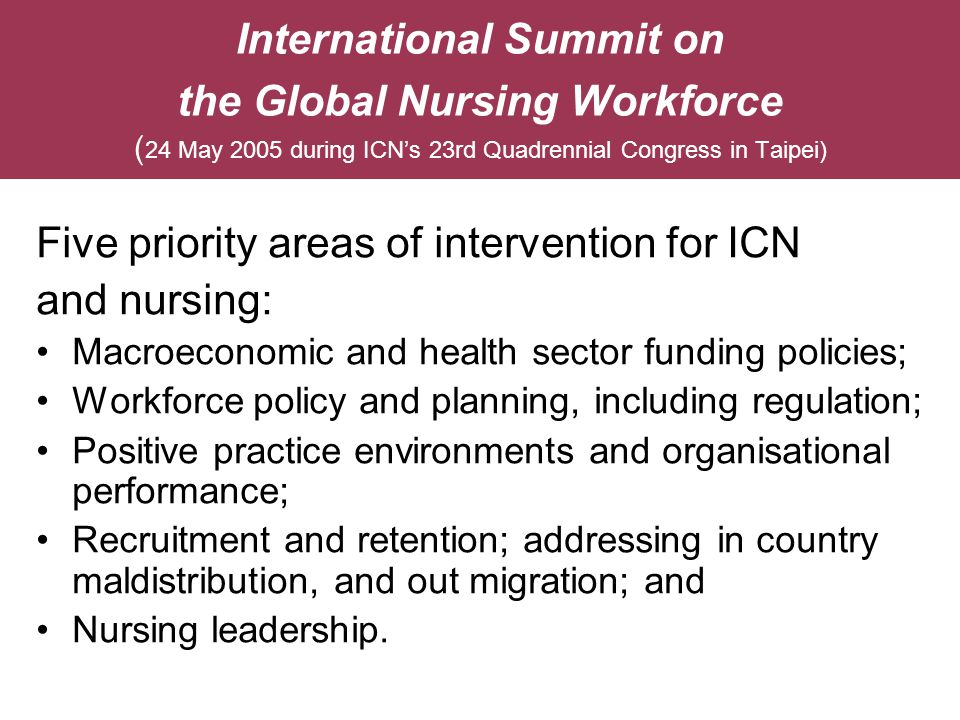 Five priority areas of intervention for ICN and nursing:
