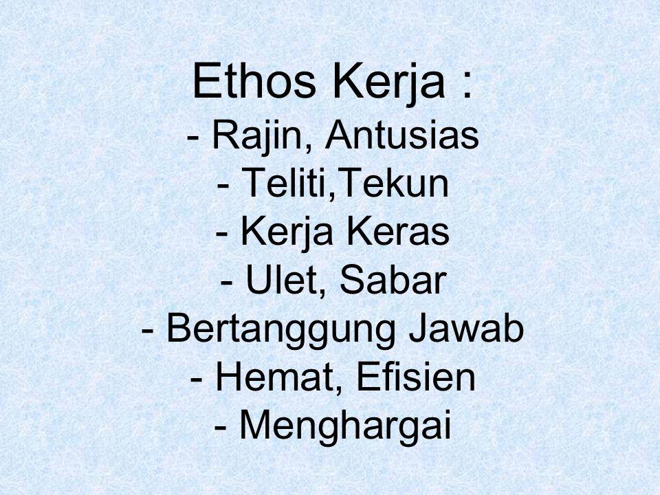 Ethos Kerja : - Rajin, Antusias - Teliti,Tekun - Kerja Keras - Ulet, Sabar - Bertanggung Jawab - Hemat, Efisien - Menghargai