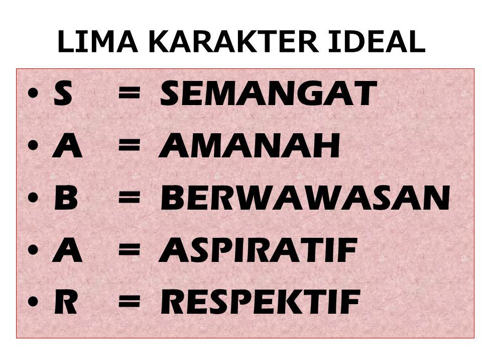 S = SEMANGAT A = AMANAH B = BERWAWASAN A = ASPIRATIF R = RESPEKTIF