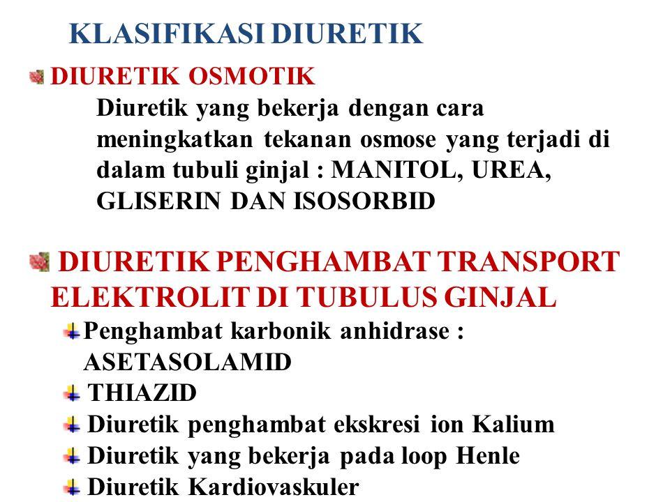 DIURETIK PENGHAMBAT TRANSPORT ELEKTROLIT DI TUBULUS GINJAL