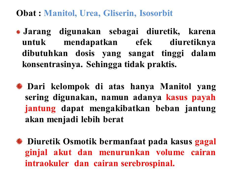 Obat : Manitol, Urea, Gliserin, Isosorbit