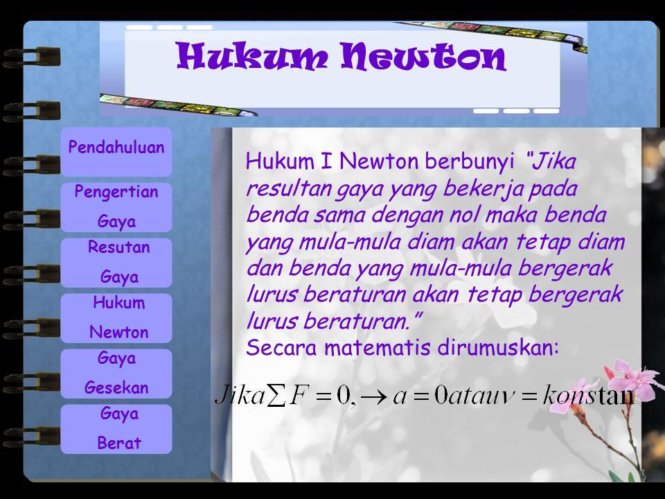 Hukum Newton Pendahuluan.