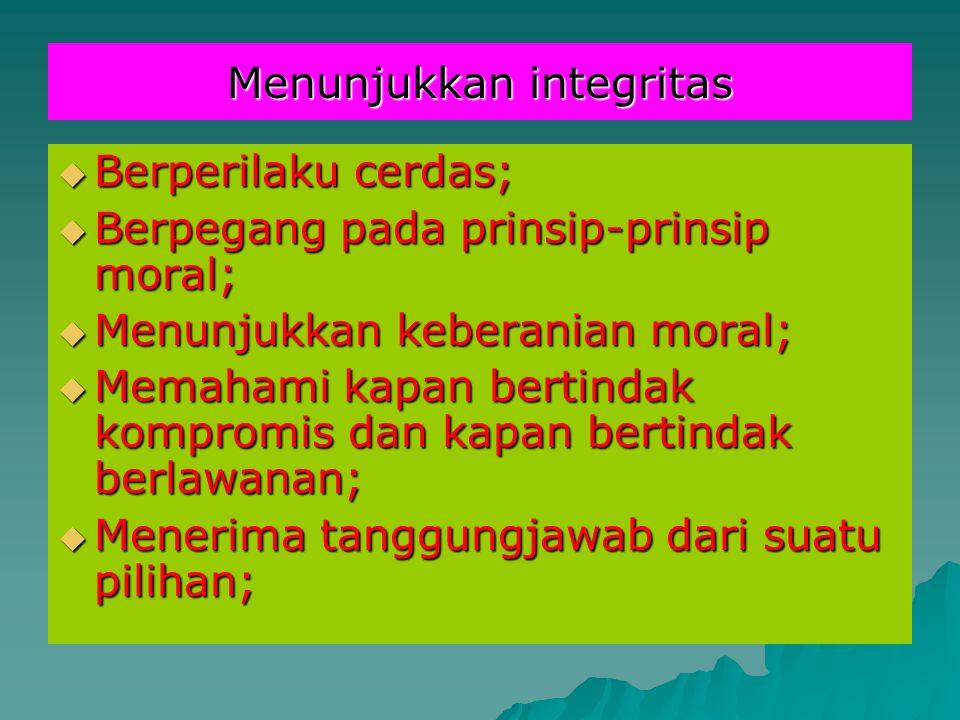 Menunjukkan integritas