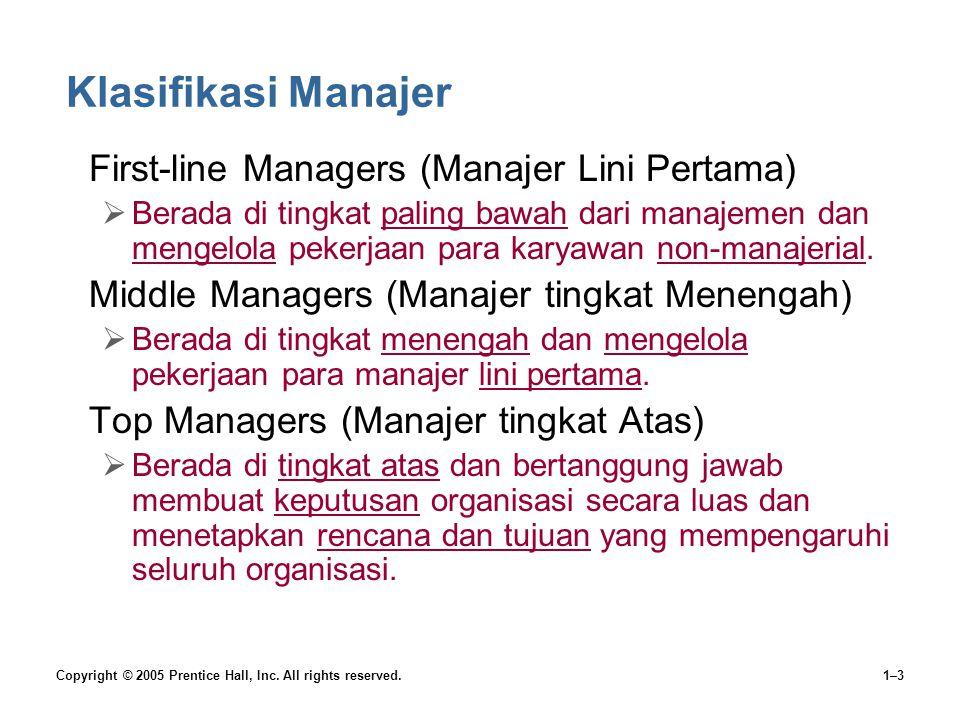 Klasifikasi Manajer First-line Managers (Manajer Lini Pertama)