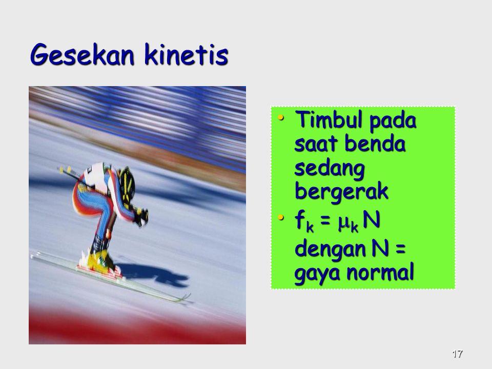 Gesekan kinetis Timbul pada saat benda sedang bergerak fk = k N