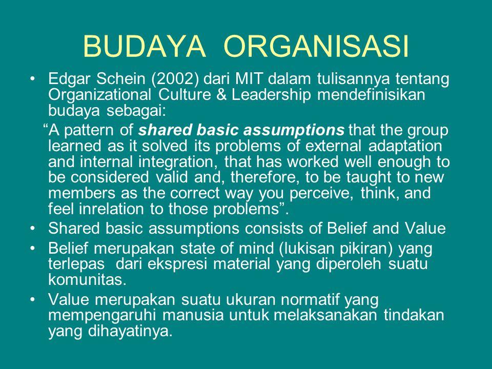 BUDAYA ORGANISASI Edgar Schein (2002) dari MIT dalam tulisannya tentang Organizational Culture & Leadership mendefinisikan budaya sebagai:
